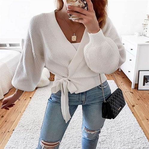 Woman Sweaters Knitwear Lace Up Warm Tunic Casual Streetwear Casual Clothes