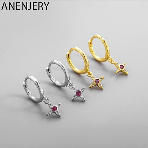 ANENJERY 925 Sterling Silver Cross Red Zircon Pendant Earrings for Women