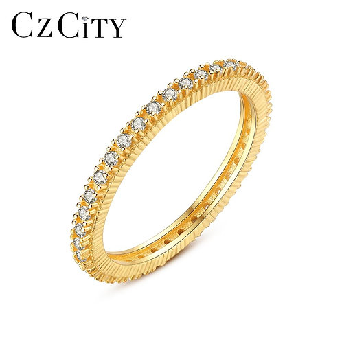 Ring Gold Plated 925 Ring Women Full Pave Eternity Band Diamond Eternity Ring