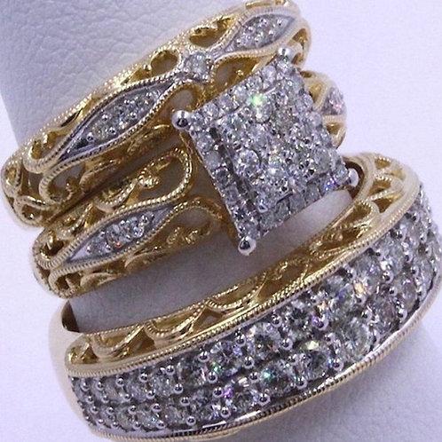 Fashion Three-Piece Diamond The Legend of Zelda Ring Set