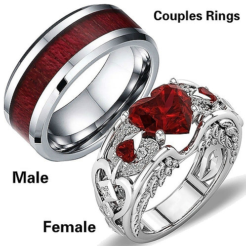 Valentine's Day Engagement Wedding Heart Shaped Ring Jewelry Couple Rings Set