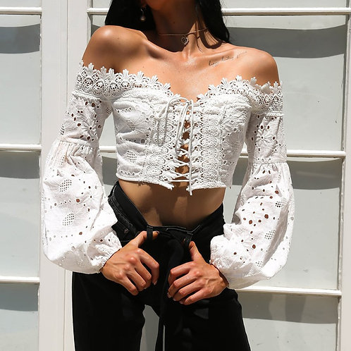 Women Blouse Ladies Long Sleeve Slash Neck  Lace Shirt Tops Femininas Hot New 20