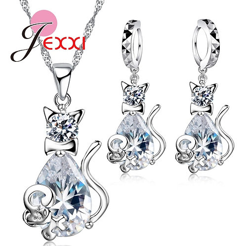 Big Stone Cute Cat& JewelrySets 925 CZ AAA Cubic Gift Jewelry Sets
