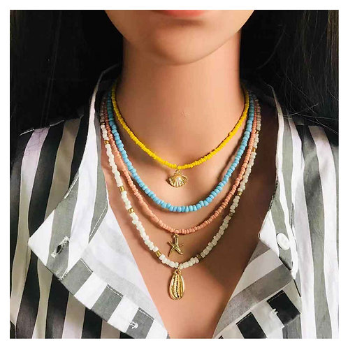 Bead Necklace for Women Fashion Colorful Beach Clavicular Chain Necklace Jewelry