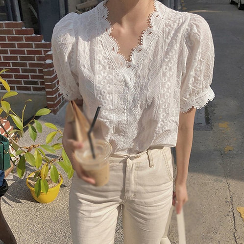 Lace Hollow Out V-Neck Casual Short Sleeve Blouse Loose Solid Shirt Female Tops