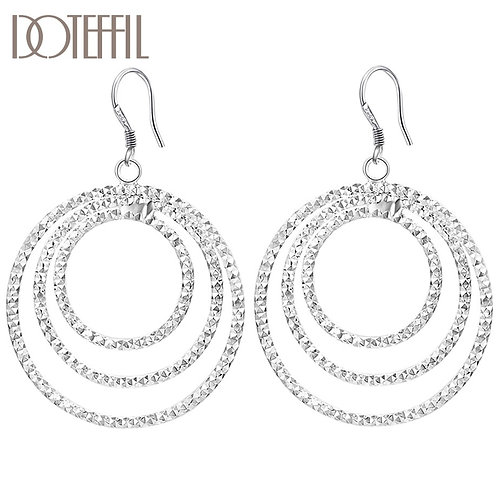 925 Sterling Silver Three Circle Pendant for Engagement Party Fashion Jewelry