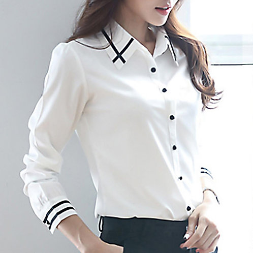 Plus Size Blouse Print Elegant Long Sleeve Office Lady  Shirts Female Blouse