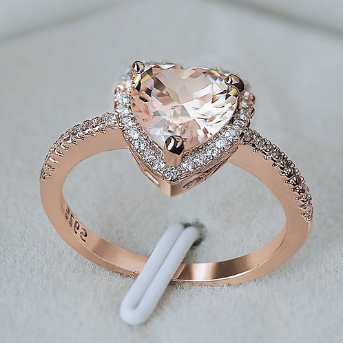 Fashion Lovely Heart-Shaped Artificial Diamond Micro-Set Ring