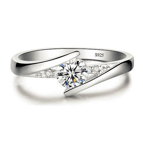 White Crystal Zircon Stone Rings for Women