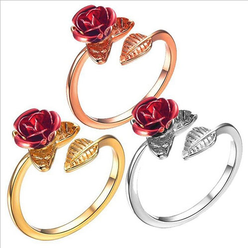 Red Rose  Resizable Rings Day Gift Jewelry Hot Sale 2021 Open Rings for Women