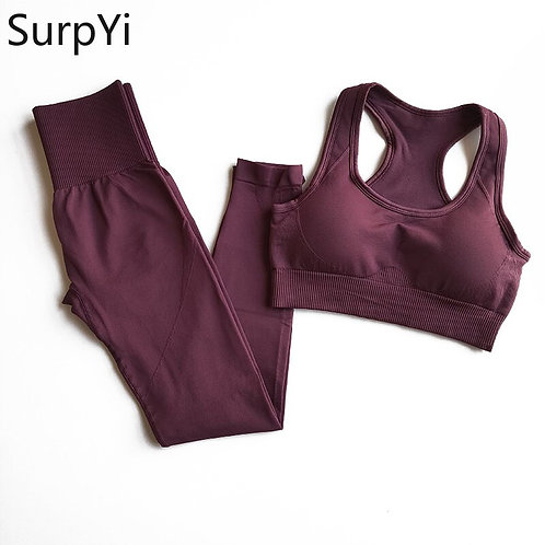 2 Pcs/Set Women New Seamless Yoga Sets Fitness Sports Suits Breathable Soft Gym