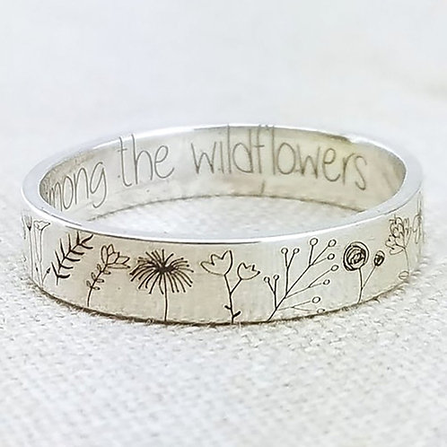 Vintage Simplicity Carved Flower Ring for Women Men Delicate Wildflowers Floral