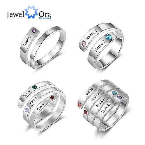 Birthstone Wrap Rings for Women Engraved Jewelry Anniversary Gifts for Mom