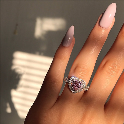Silver Color Pink Crystal Heart  Elegant Zircon Engagement Rings Jewelry Gifts