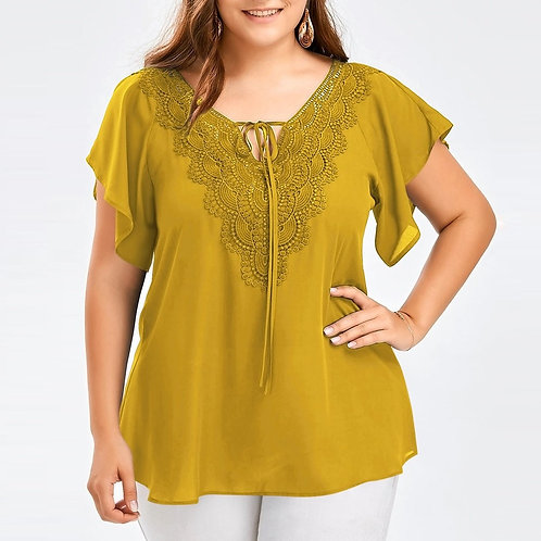 Plus Size Summer Fashion Lace Up Loose Top Half Sleeve Shirt Blusas Pullover