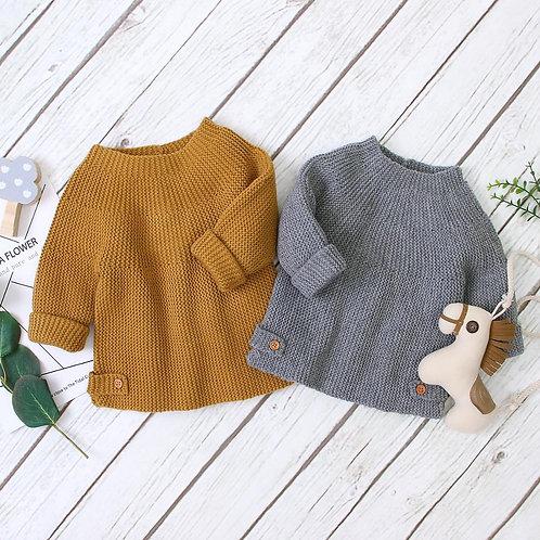 Solid Knitted Kids Knitwear Tops Autumn Winter Newborn 0-2y Long Sleeve