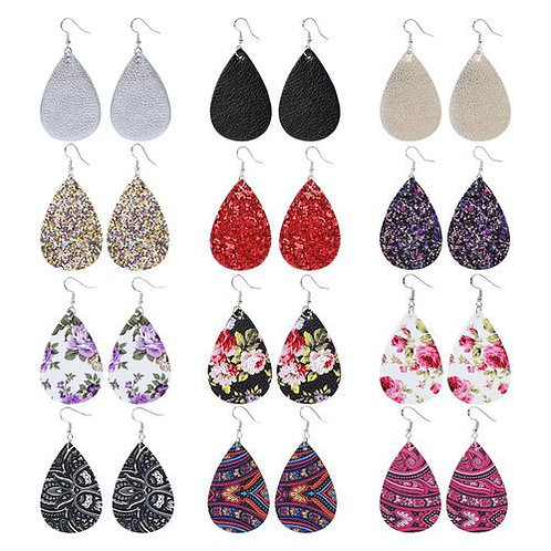 12 PCS/Set Lychee Dripping Leather Earrings Leather Earrings Lightweight