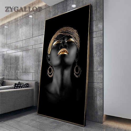 Modern Art Canvas Painting African Black Woman Posters and Prints Scandinavian
