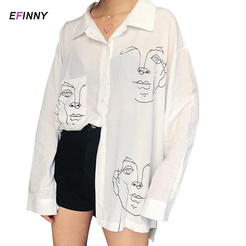 Women Blouse Face Print Casual Loose Long  Shirt  Loose BF Korean Style Blusas