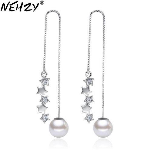 Women's Long Pearl Earrings Cute Wishing Five-Pointed Star Meteor Earrings