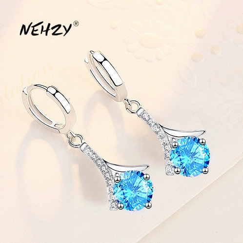 925 Sterling Silver 2021 New Water Drop Blue Pink Crystal Zircon Earrings