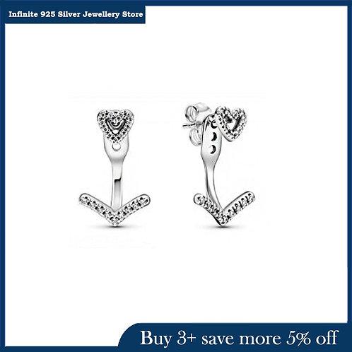 2021 Day New 925 Sterling Silver Earrings One Arrow  the Heart Earrings Women