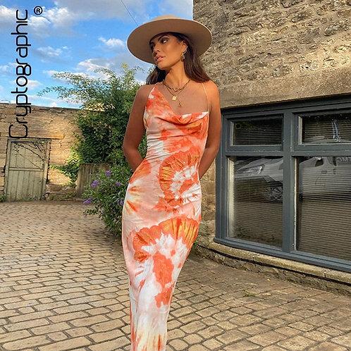 Tie Dye Fashion Sexy Backless Lace Up Midi Dresses  Sundress