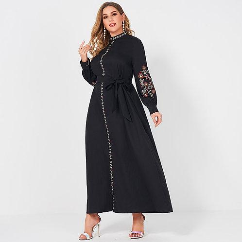 Fashion Style Collar Long Loose Belt Large Plus Size Black Lady Dress