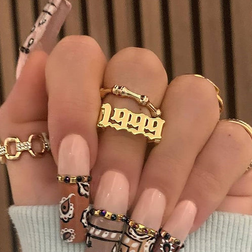 Women Men Old English Gold Ring Band Gothic Vintage Jewelry Punk Anillos Mujer