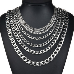 NK HOME 27.5 Inch Stainless Steel Silver Tone Chain Cuban Curb Mens Necklace 3/ 5/ 7/ 9/ 11mm
