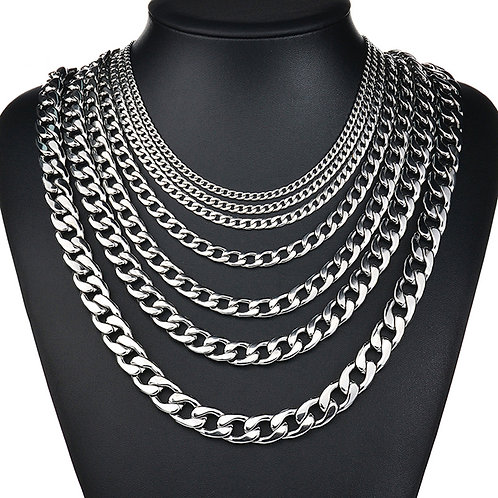 NK HOME 27.5 Inch Stainless Steel Silver Tone Chain Cuban Curb Mens Necklace 3/