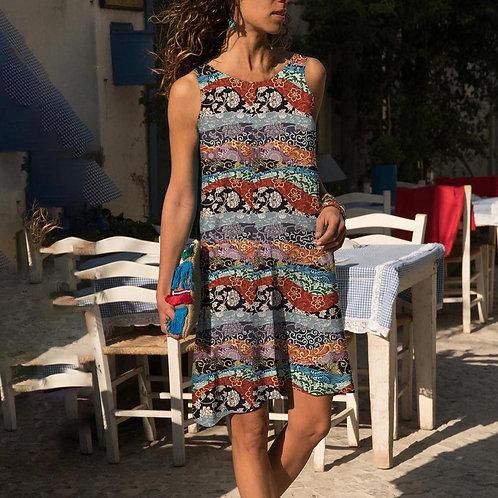Summer Dress O-Neck Flowers Cotton Linen Sleeveless