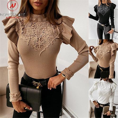 Elegant Women Sweaters Patchwork Design Lace Ruffles Decor O-Neck Long Sleeve