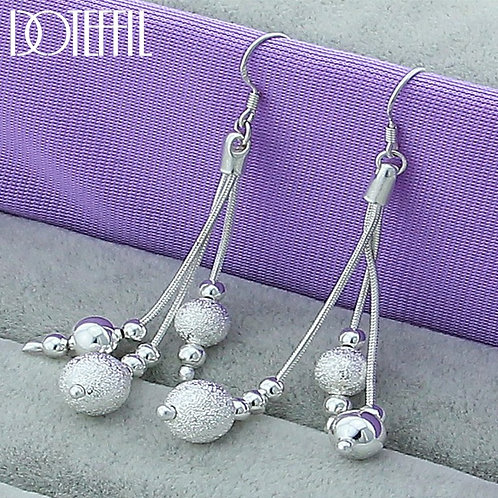 925 Sterling Silver Smooth Matte Beads Drop Earrings Woman Wedding Engagement