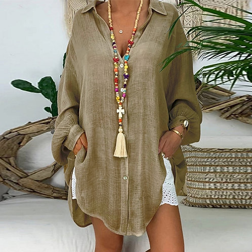 Long Sleeve Cotton  Blouses Shirts Solid Tunic Casual v Neck Plus Size  Blouses
