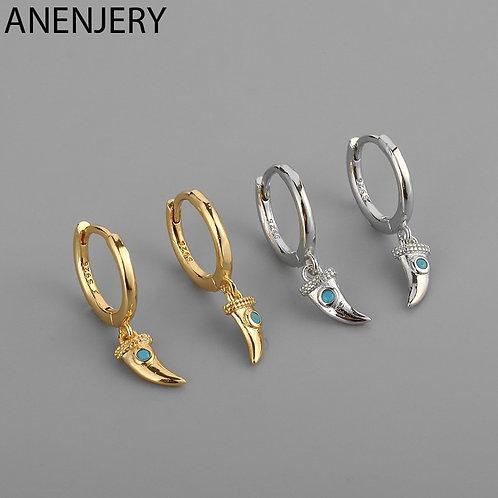 925 Sterling Silver Blue Micro Zircon Horn Crescent Hoop Earrings for Women