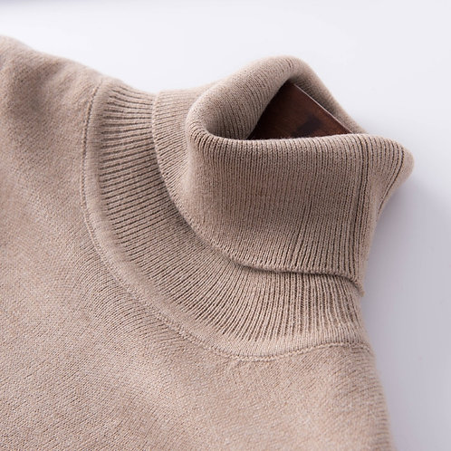 2021 Autumn and Head High Collar Sweater Women's Sweater Solid Color Large Size