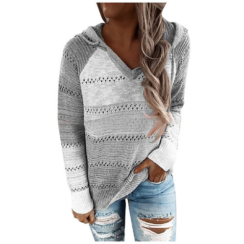 Fashion Women Casual Patchwork V-Neck Long Sleeves Hooded Sweater Blouse