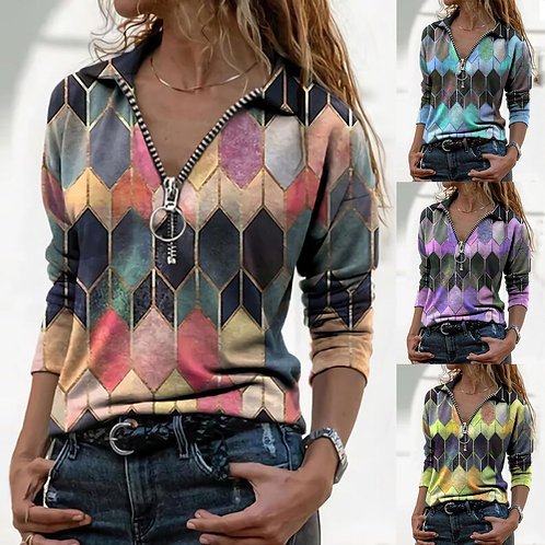 V-Neck Zip Up Sweaters Fashion Women Lapel Geometric Print Zipper Sweaters Long