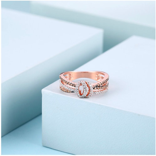Rose Gold Two-Tone Cubic Zirconia Ring
