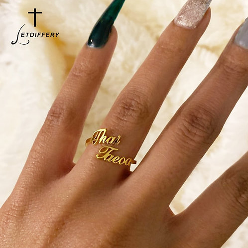 Double Name Rings Stainless Steel Women Wedding Rings Unique Engagement Gifts