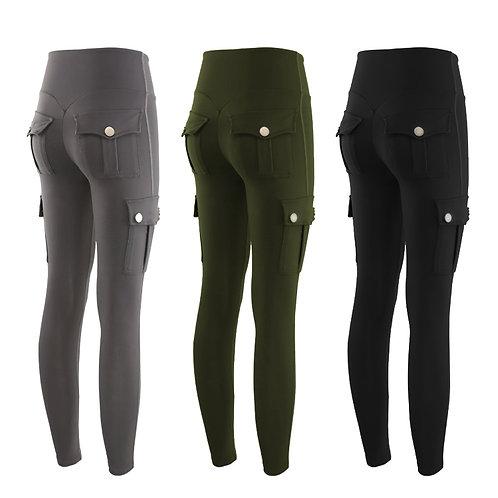 Women Yoga Pants High Waist  Gym Slim Fit Pocket Pants  Polyester Cargo Pants