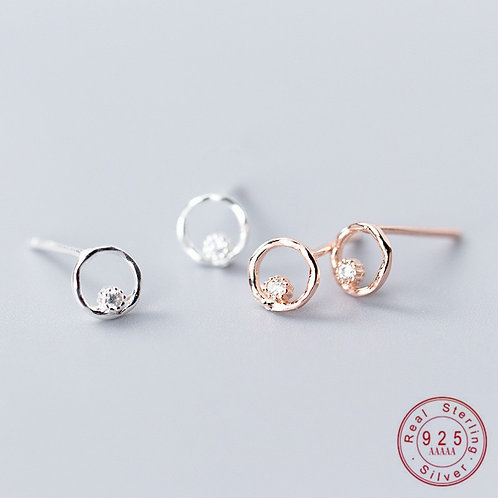 Real 100% 925 Sterling Silver Geometric Hollow Circle Statement Stud Earrings