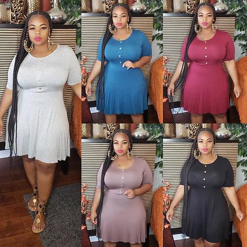 Plus Size Dress Women XL--5XL Big Size Female  O Neck Dress Home Loose Dress