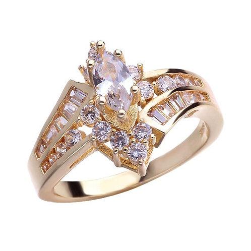 Women's 18 K Gold Plated Diamond Irregular Horse Eye Shape Ladder Zircon Ring