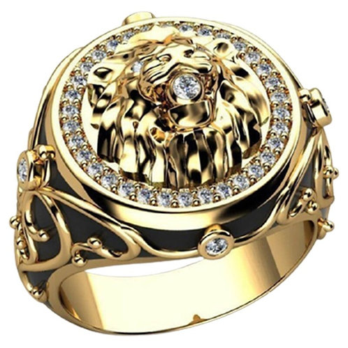 Lion Ring Male Lion Head Hip Hop Ring Punk Tide Men Club Party Jewelery Gift
