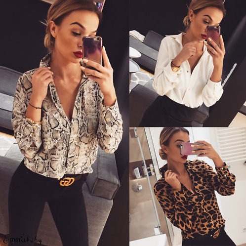 Hot Fashion Sexy Snake Skin Leopard V-Neck  Loose Sleeve Shirts Tops Casual