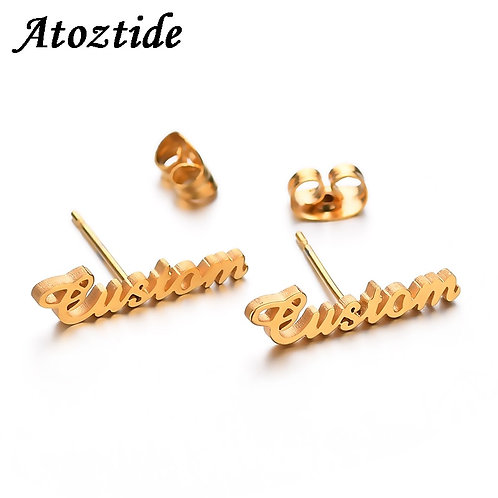 Atoztide Personalized for Women Fashion Custom Name Piercing Earrings Nameplate