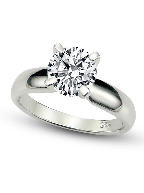 Sz 7 Sterling Silver Cubic Zirconia Solitaire 1.25 Carat tw Round Cut 4-Prong Se