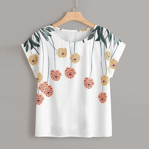 Plus Size Fashion Floral Print Blouse Sexy O-Neck Tee Tops Short Shirt Blusas